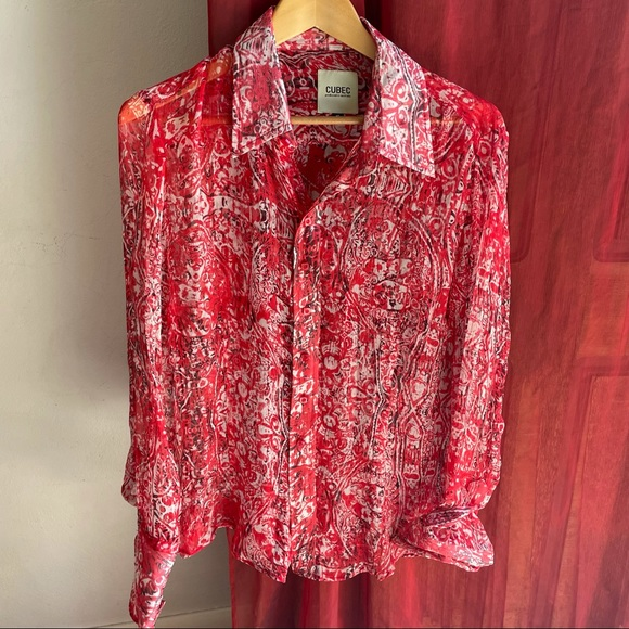 CUBEC 100% silk abstract blouse (16)